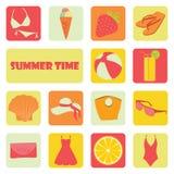 Insieme di diverse icone di estate piana su un tema di resto Fotografia Stock Libera da Diritti