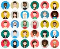 Insieme di diversi avatar rotondi fotografia stock libera da diritti