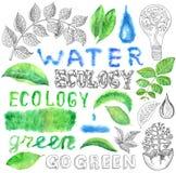 Insieme di Eco con le foglie, le gocce di acqua ed il testo isolati Immagini Stock Libere da Diritti