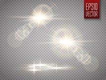 Insieme di effetto della luce speciale del chiarore della lente di luce solare trasparente di vettore Fotografia Stock