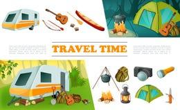 Insieme di elementi di campeggio di viaggio del fumetto illustrazione di stock