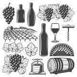 Insieme di elementi d'annata del vino Fotografia Stock Libera da Diritti