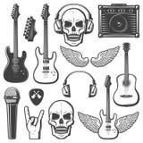 Insieme di elementi d'annata di musica rock illustrazione di stock