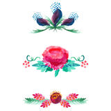 Insieme di elementi decorativo dei confini e dei divisori dell'acquerello su bianco per progettazione di carta o del sito Fotografia Stock Libera da Diritti