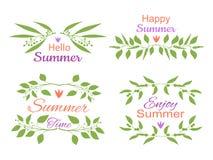 Insieme di elementi decorativo floreale elegante con gli inviti di estate royalty illustrazione gratis