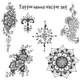 Insieme di elementi del hennè del tatuaggio Immagini Stock