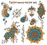 Insieme di elementi del hennè del tatuaggio Fotografie Stock