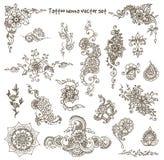 Insieme di elementi del hennè del tatuaggio Fotografie Stock Libere da Diritti