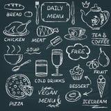 Insieme di elementi del menu della lavagna 3 Fotografia Stock
