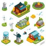 Insieme di elementi del paesaggio dell'azienda agricola illustrazione vettoriale