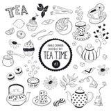 Insieme di elementi del tempo di scarabocchio del tè Immagine Stock