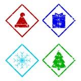 Insieme di elementi del timbro di gomma di Natale isolato su bianco fotografia stock