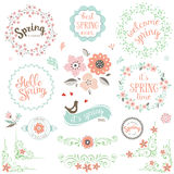 Insieme di elementi della primavera illustrazione di stock