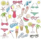 Insieme di elementi della spiaggia di estate. Immagini Stock