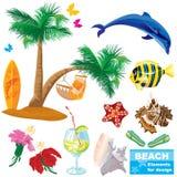 Insieme di elementi della spiaggia di estate Immagine Stock
