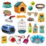 Insieme di elementi di cura di animale domestico Fotografie Stock Libere da Diritti
