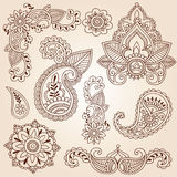 Insieme di elementi di disegno del tatuaggio di Mehndi di Doodles del hennè Immagini Stock Libere da Diritti