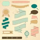 Insieme di elementi di disegno del Web site dell'annata. Immagine Stock