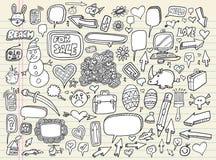 Insieme di elementi di disegno della bolla di discorso di Doodle Fotografia Stock Libera da Diritti