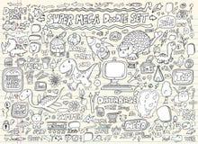 Insieme di elementi di disegno della bolla di discorso di Doodle Fotografia Stock