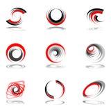 Insieme di elementi di disegno nei colori rosso-grigi. Fotografie Stock Libere da Diritti