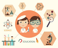 Insieme di elementi di educazione e di scienza Fotografia Stock