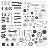 Insieme di elementi di infographics di stile dei pantaloni a vita bassa per retro progettazione Fotografia Stock