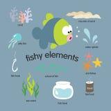Insieme di elementi di pesce Fotografia Stock