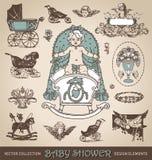 Insieme di elementi di progettazione dell'oggetto d'antiquariato della doccia di bambino () Immagine Stock Libera da Diritti