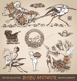 Insieme di elementi di progettazione dell'oggetto d'antiquariato della doccia di bambino () Fotografia Stock