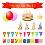 Insieme di elementi di progettazione della festa di compleanno. Immagine Stock
