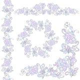 Insieme di elementi di progettazione floreale Isolato su priorità bassa bianca Fotografia Stock