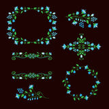Insieme di elementi di progettazione floreale, strutture ornamentali per la decorazione di età Fotografia Stock Libera da Diritti