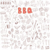 Insieme di elementi di scarabocchio del partito del barbecue Fotografia Stock Libera da Diritti