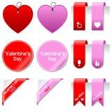 Insieme di elementi di vendita di giorno del biglietto di S. Valentino s Immagini Stock