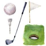 Insieme di elementi differente di golf dell'acquerello Golf l'illustrazione con il corso del foro, il T, il club di golf, la pall illustrazione di stock