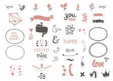 Insieme di elementi disegnato a mano di amore illustrazione di stock