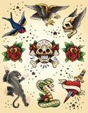Insieme di elementi istantaneo di vettore del tatuaggio Immagini Stock