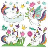 Insieme di elementi magico di progettazione dell'unicorno Fotografie Stock Libere da Diritti