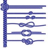 Insieme di elementi marino della corda di stile illustrazione di stock