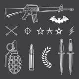Insieme di elementi militare dell'emblema Fotografia Stock Libera da Diritti