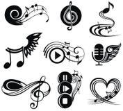 Insieme di elementi musicale di progettazione Fotografie Stock