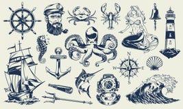 Insieme di elementi nautico monocromatico d'annata illustrazione vettoriale