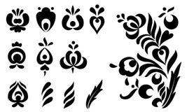 Insieme di elementi ornamentale di disegno Fotografie Stock Libere da Diritti
