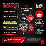 Insieme di elementi di progettazione di vendita di Black Friday Etichette dell'iscrizione di vendita di Black Friday, autoadesivi Fotografia Stock Libera da Diritti