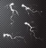 Insieme di elementi realistico di temporale illustrazione vettoriale