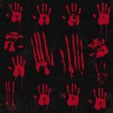 Insieme di elementi sanguinoso della stampa della mano 01 Immagini Stock