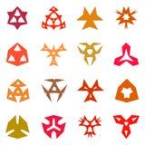 Insieme di elementi simmetrico di progettazione isolato, elementi di logo Immagine Stock Libera da Diritti