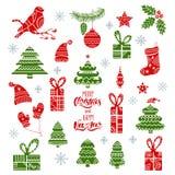 Insieme di elementi tribale di progettazione di Natale Icone disegnate a mano dell'ornamentale di festa illustrazione di stock
