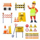 Insieme di elementi urbano di sicurezza isolato su fondo bianco royalty illustrazione gratis